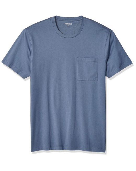 Short-Sleeve Crewneck Cotton T-Shirt w/Pocket Goodthreads pour homme en coloris Blue