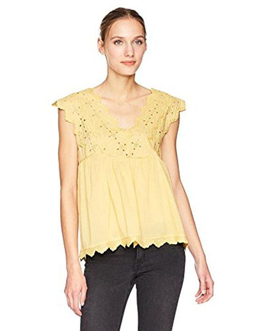 9ddb17ff Lucky Brand Eyelet Tank Top in Yellow - Save 54% - Lyst