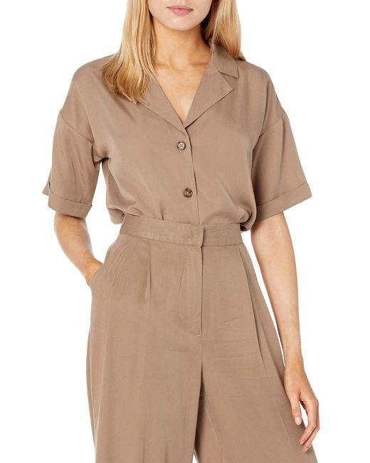Marty Camisa Cuadrada de ga Corta Abotonada y Arremangada Mujer The Drop de color Brown