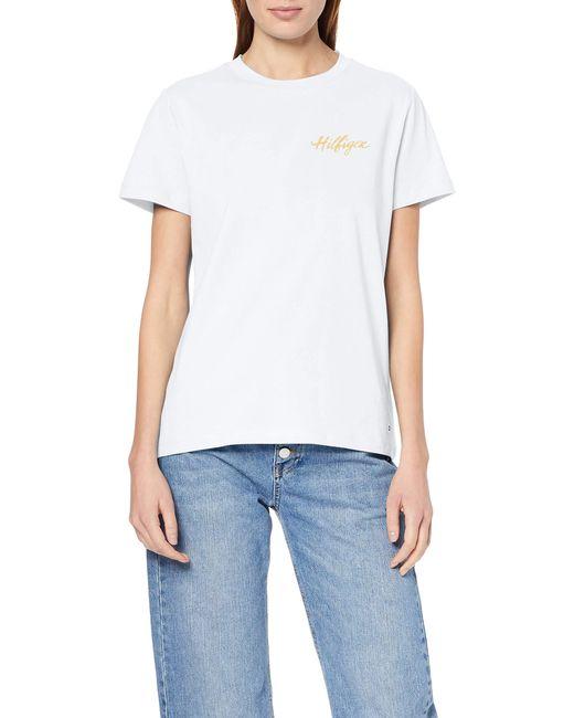Tommy Hilfiger White Viola C-nk Tee Ss T - Shirt
