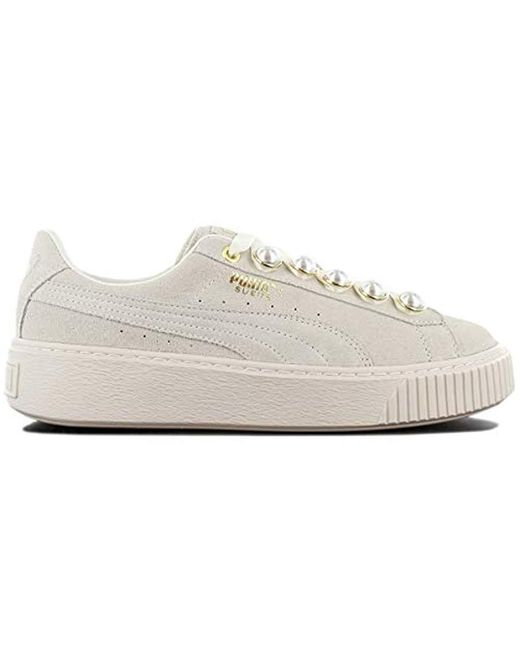 check out 3da9b 5d41a Women's Suede Platform Bling Trainers Natural
