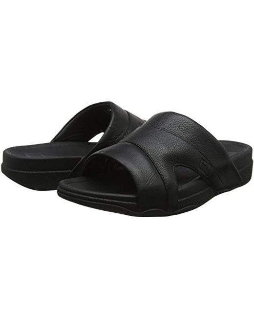 25b769ffd64582 ... Fitflop - Black Freeway Pool Slide In Leather Open Toe Sandals for Men  - Lyst ...