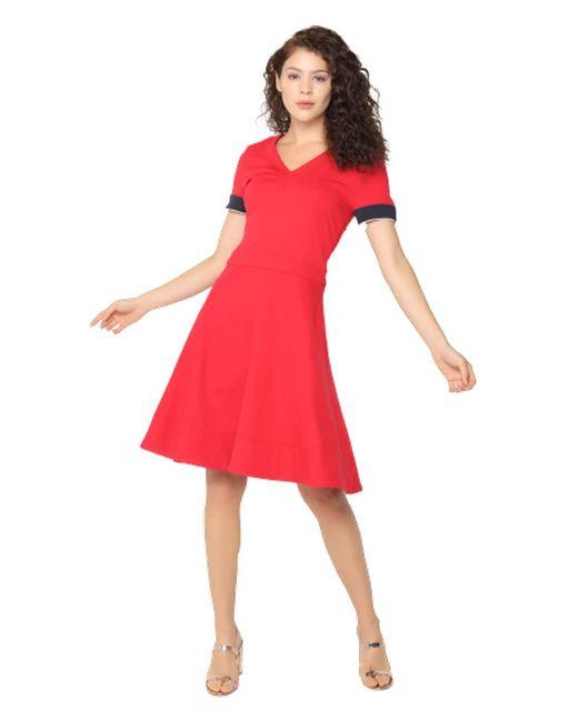 Fit&Flare Punto Dress SS Vestido Tommy Hilfiger de color Red