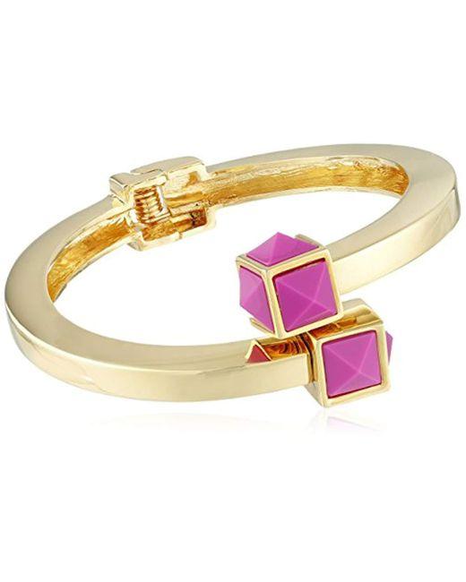 Trina Turk - Metallic Retro Sport Pyramid Stone Bypass Flex Gold Pink Cuff Bracelet - Lyst