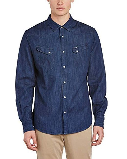 13e464edeb Wrangler - Blue L s Western Shirt Light Indigo Shirt for Men - Lyst ...