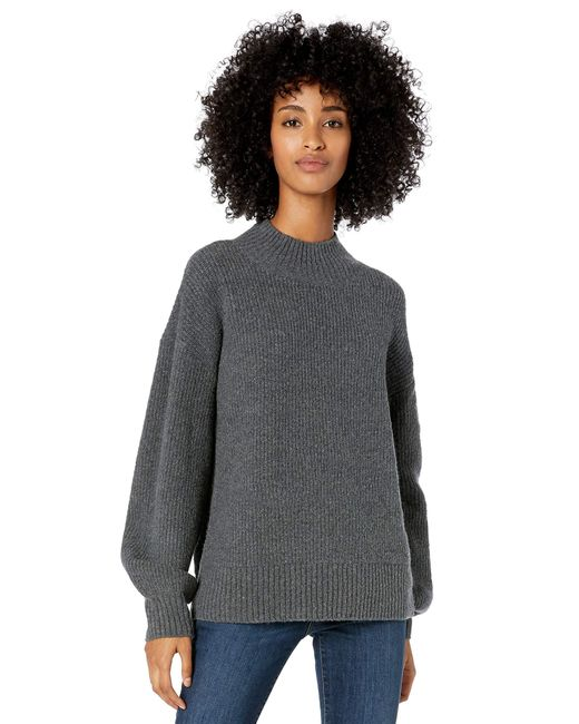 Boucle Half-Cardigan Stitch Balloon-Sleeve Sweater Goodthreads en coloris Gray