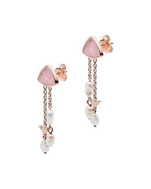Armani Boucles D'oreilles EG3445221 s Clous Argent 925 Rose Blanc Sw Pearl Emporio Armani en coloris Metallic