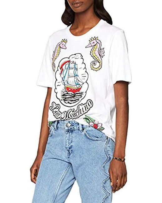 Love Moschino - White T-shirt - Lyst