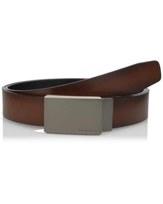 Perry Ellis Brown Portfolio Reversible Matte Gunmetal Plaque Belt for men