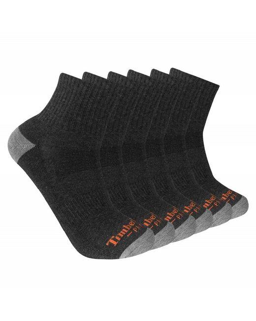 Timberland Gray Mens Performance Quarter Length 1/2 Cushion 6-pack Casual Socks for men