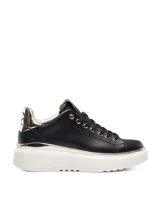 Birch Lace Up Leather Sneakers Black in Size 36 Replay