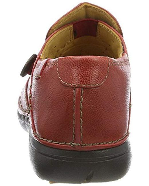4dd9eb9e Clarks Leather Un Loop Loafers in Red - Save 13% - Lyst