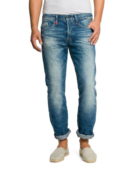 Replay Straight Leg Jeanshose Waitom in Blue für Herren