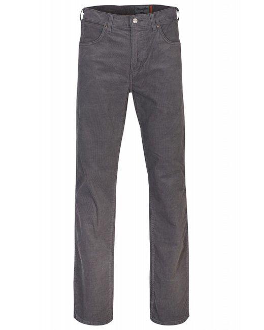 Wrangler Gray Cordhose Arizona Stretch Straight Trousers for men