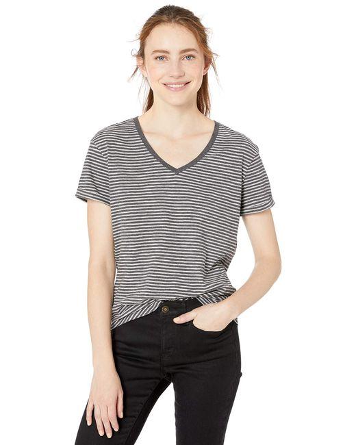 Vintage Cotton Roll-Sleeve V-Neck T-Shirt Camiseta Goodthreads de color Gray