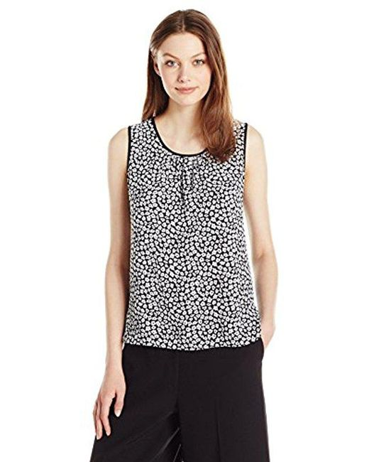 Anne Klein - Black Printed Mixed Media Shell - Lyst