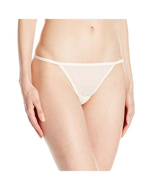 a8566415399f Lyst - Calvin Klein Sheer Marquisette Thong String Panty in Natural ...