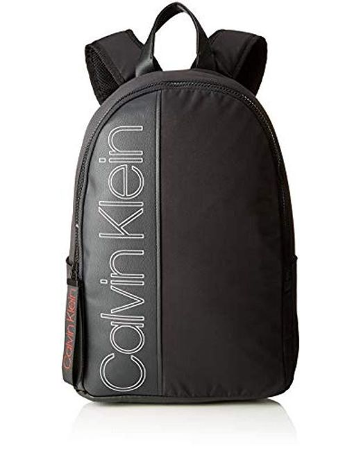 Calvin Klein Herren Double Logo Round Backpack Rucksack, Schwarz (Black), 20x45x33 cm für Herren
