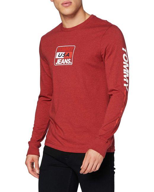 Tommy Hilfiger Red Male Tjm Longsleeve Usa Tee Shirt for men