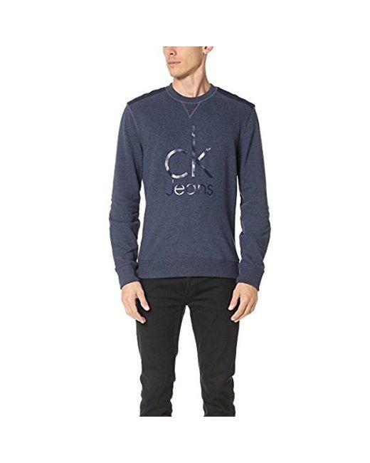 Calvin Klein - Blue Mixed Media Ckj Logo Crew Neck Sweatshirt, for Men - Lyst