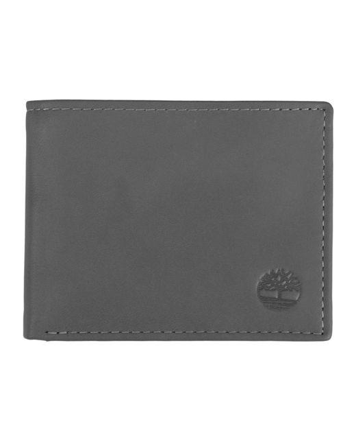 Leather Wallet with Attached Flip Pocket Accessori da Viaggio-Portafoglio bi-Fold di Timberland in Gray da Uomo