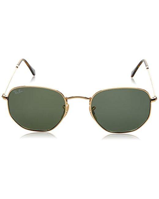 416b70f5f375 Ray-Ban Hexagonal Flat Lens Sunglasses In Gold Green Rb3548n 001 51 ...