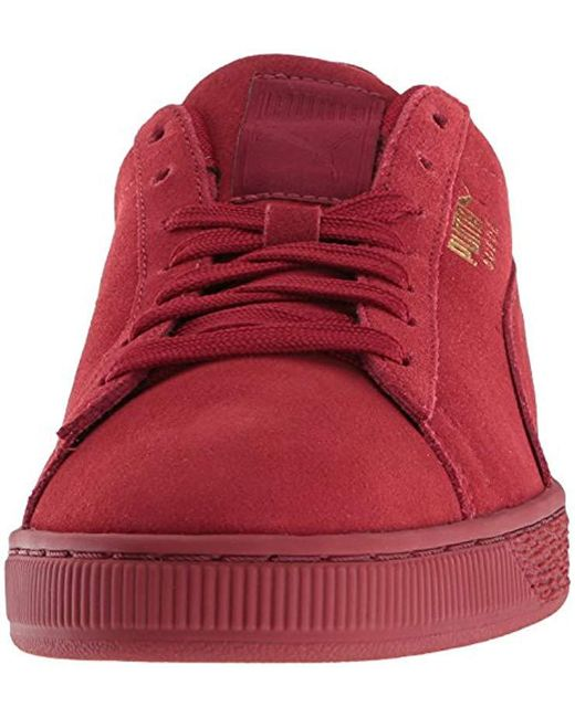 check out 81428 d1403 Men's Red Suede Classic Tonal Fashion Sneaker
