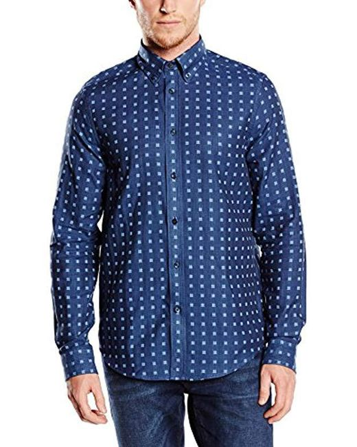Ben Sherman Blue Double Cloth Gingham Checkered Long Sleeve Casual Shirt for men