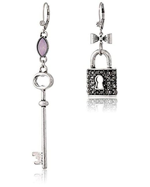 "Betsey Johnson - Multicolor ""lady Lock"" Lock And Key Mismatch Drop Earrings - Lyst"