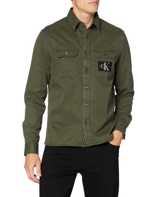 Gmd Twill Overshirt Reg + Shirt Camisa Calvin Klein de hombre de color Green