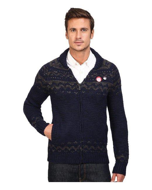 Scotch & Soda Blue Zip-thru Cardigan In Chunky Slub Yarn Knit for men