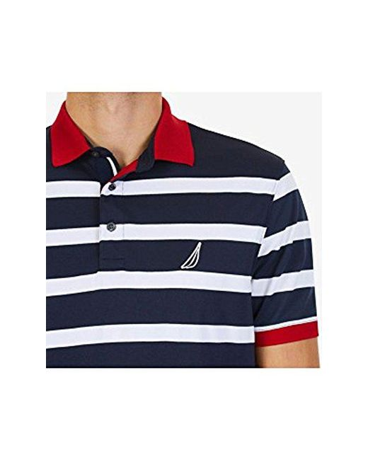 d74781f8 ... Nautica - Blue Classic Fit Short Sleeve Striped Moisture Wicking Polo  Shirt for Men - Lyst