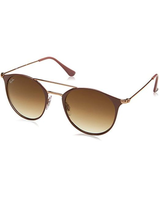 1058be8bc97 Ray-Ban - Natural Double Bridge Metal Round Sunglasses In Copper On Beige  Rb3546 907151 ...