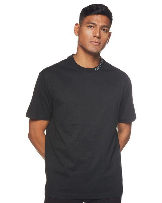 Collar Intarsia Tee Camicia di Calvin Klein in Black da Uomo