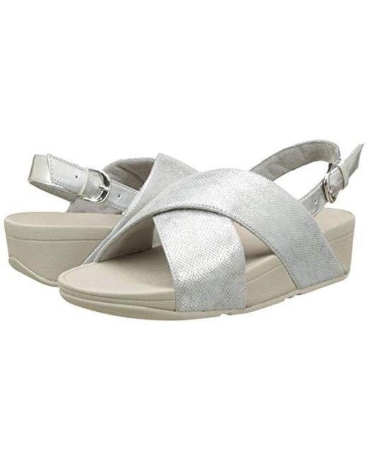 13b076a6499081 ... Fitflop - Metallic Lulu Cross Back-strap Shimmer Open Toe Sandals -  Lyst ...