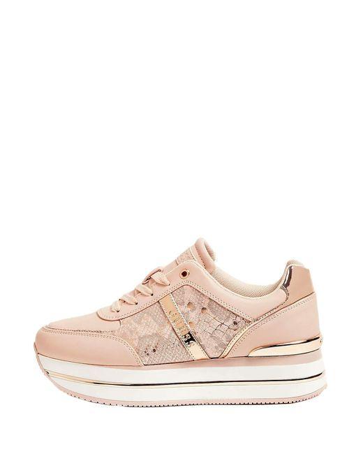 Guess Pink GL7DFE Sneakers mit Schnürung aus Kunstleder für