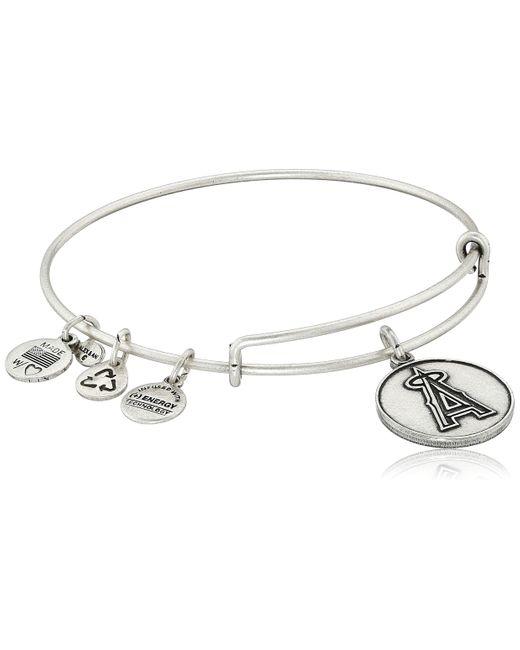 "ALEX AND ANI Metallic ""major League Baseball"" Angels Cap Logo Rafaelian Silver-tone Expandable Bangle Bracelet"