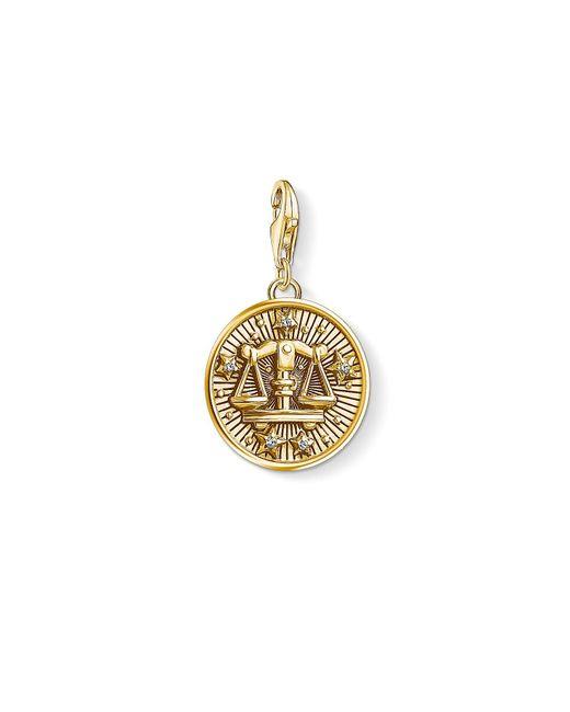 S s-Charm-Pendentif Signe Zodiacal Balance Charm Club Argent Sterling 925 plaqué or jaune 18 carats 1658-414-39 Thomas Sabo en coloris Metallic