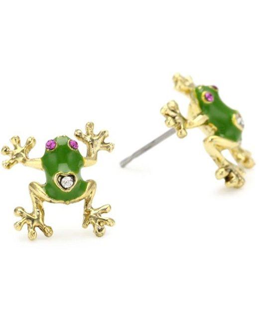 Betsey Johnson - Green S Jungle Book Frog Stud Earrings - Lyst