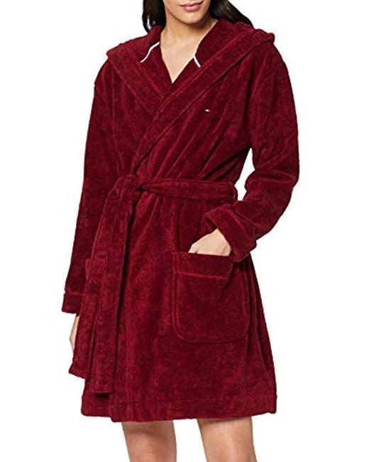 Hoody Robe Baignoire Femme Tommy Hilfiger en coloris Red