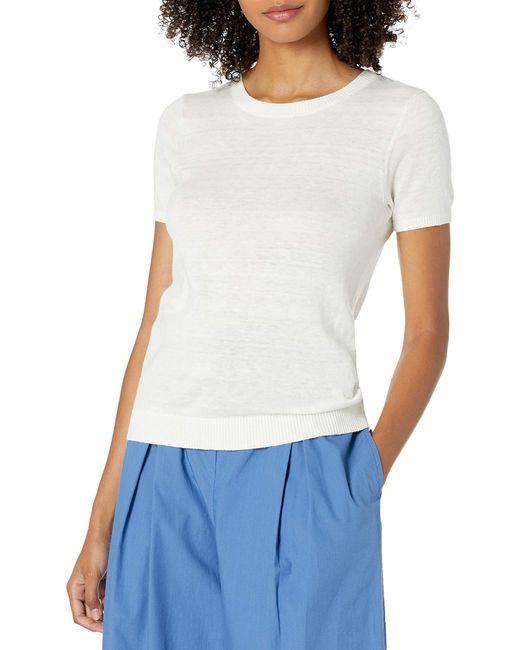 The Drop White Daryl Short Sleeve Tiny T-shirt Crew Neck Sweater