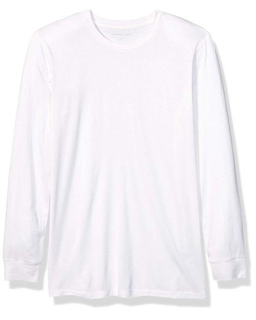 Heat Retention Long-Sleeve Base Layer Shirt Athletic-Shirts Amazon Essentials de hombre de color White