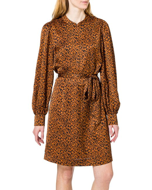 Printed Dress with Waist Tie And Voluminous Sleeve Vestito di Scotch & Soda in Brown