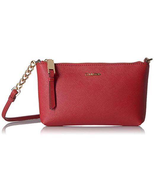 Calvin Klein - Red Hayden Saffiano Leather Crossbody - Lyst