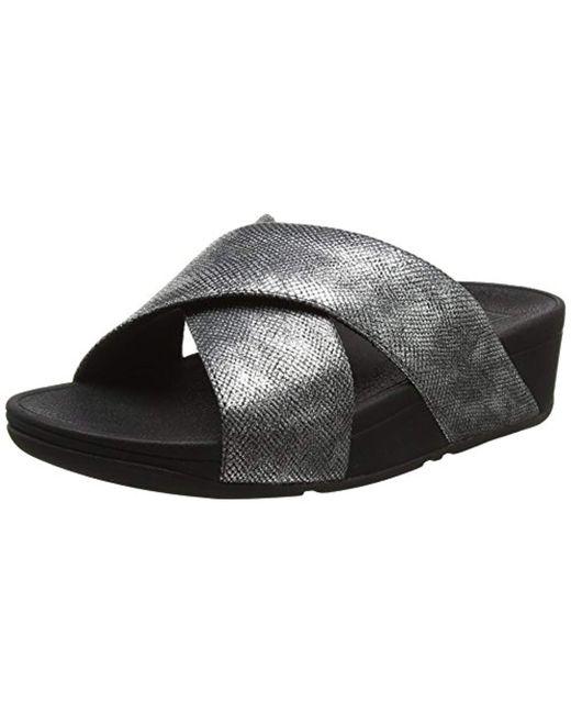 623aca46950 Fitflop - Black Lulu Cross Slide Sandals-shimmer-print Open Toe - Lyst ...