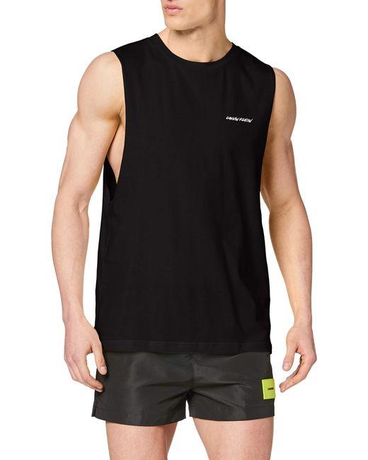 Calvin Klein Black Relaxed Retro Crew Tank Pyjama Top for men