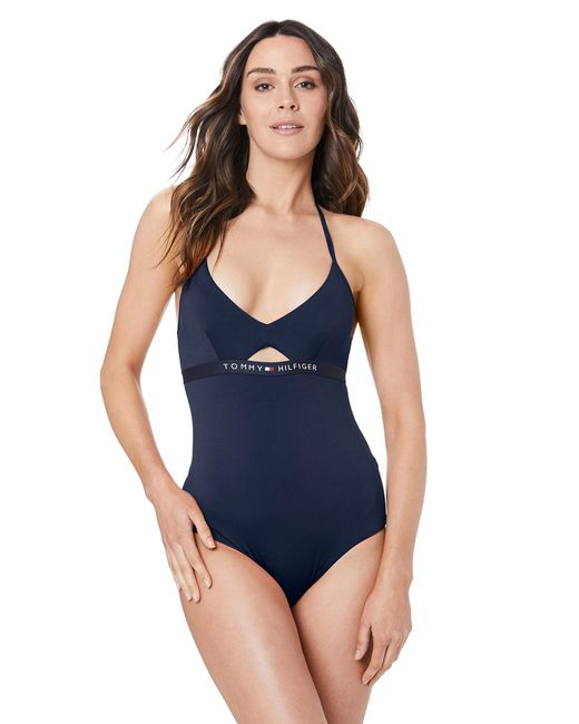 Tommy Hilfiger Blue Piece Rp Swimming Costume,