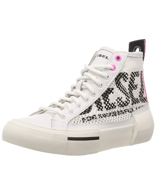 DIESEL White High-Top-Sneakers