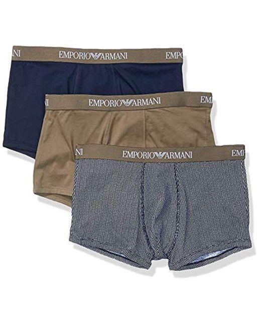 Couleur Coton Pur 3-Pack Tronc, Vert Kaki/Impression/Marine Emporio Armani pour homme en coloris Blue