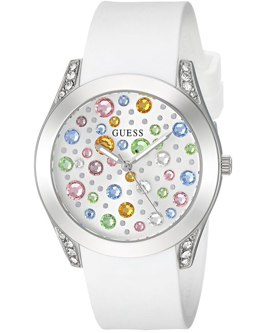 Guess Stainless Steel Quartz Watch With Leather Calfskin Strap, Blue, 16 (model: U1136l4)